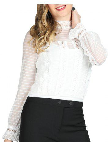 ad5802bf05435 SBETRO Female Striped Shirt Sheer Lace Chiffon Blouse Long Sleeve Spring  Summer