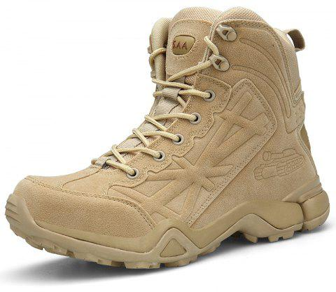 Men High-Top Non-Slip Wear-Resistant Comfort Cushioning Outdoor Military Boots - SAND EU 44