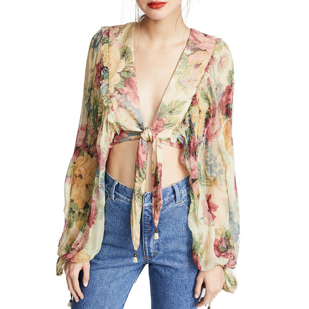HAODUOYI Women's Sexy V-Neck High Waist Exposed Navel Loose Shirt Multicolor - multicolor A L