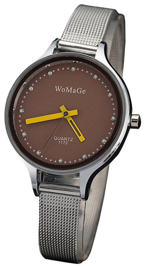 WoMaGeFashion Diamond Watch au poignet montre multicolore de style montre à quartz - Café profond