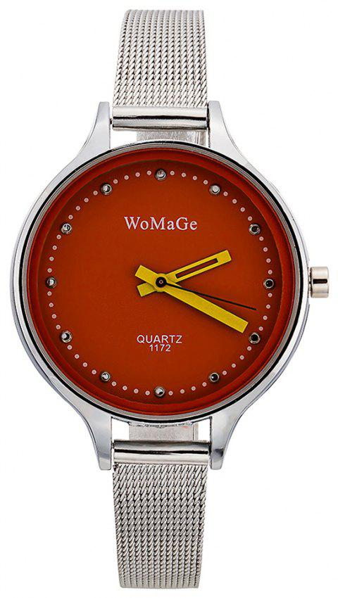 WoMaGeFashion Diamond Watch au poignet montre multicolore de style montre à quartz - Rouge