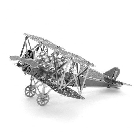 Biplane Fighter 3D Metal High-quality DIY Laser Cut Puzzles Jigsaw Model Toy - SILVER