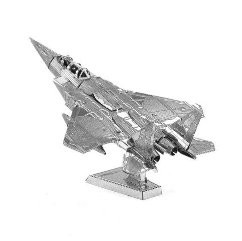 F15 Fighter 3D Metal High-quality DIY Laser Cut Puzzles Jigsaw Model Toy - SILVER