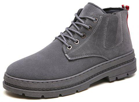 Men High-Cut Solid Casual Fashion Boots - GRAY EU 42
