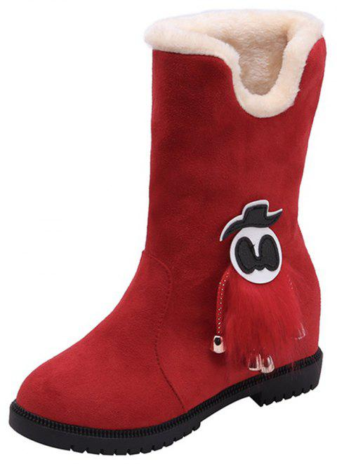 best service 4e530 eb979 Thick Bottom Flat Heel Warm Middle Tube Snow Boots