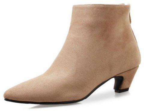 Pointed Head with Medium Heel and Comfortable Short Boots - APRICOT EU 38