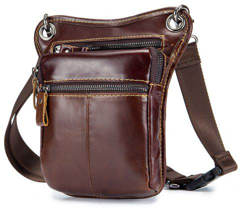 Men's leather retro one-shoulder waist can be used for dual-use bags - SEPIA