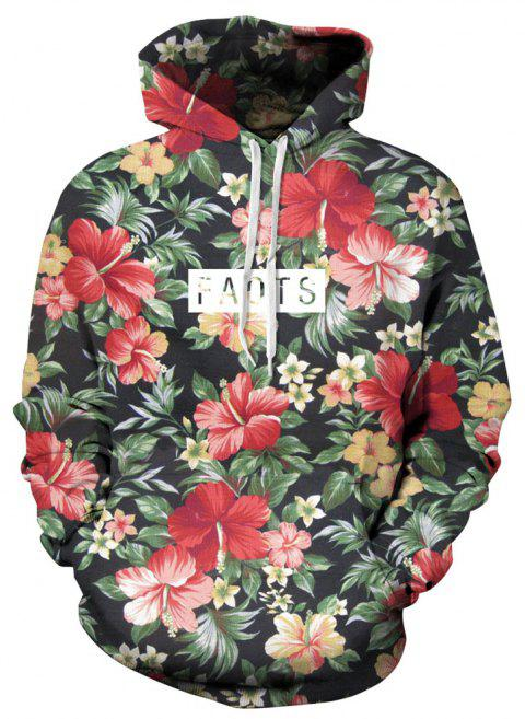 Autumn and Winter Men's Digital Print Long-Sleeved Floral Sweate - multicolor XL