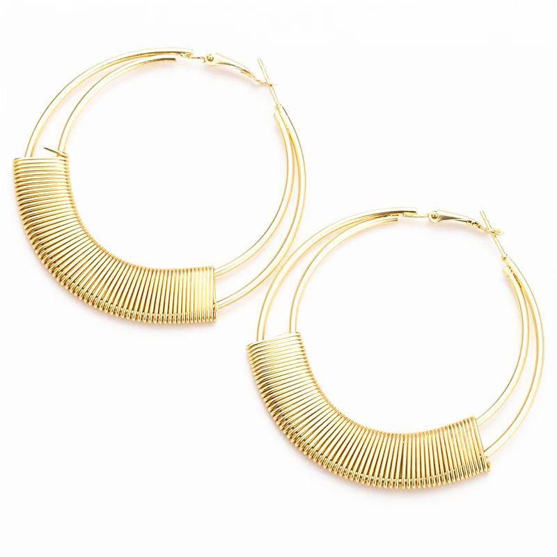 Women's 1 Pair Hoops Elegant Stylish Round Multi-Layers Design Earrings - GOLDEN BROWN