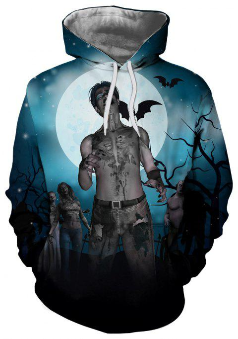 Sweat à capuche homme 3D Winter Night Zombie Print - multicolor XL