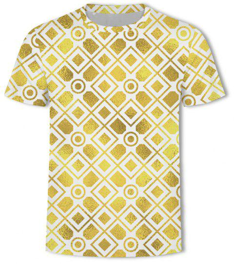 Summer Casual Diamond Check 3D Printed Mens Short Sleeve T-shirt - multicolor B L
