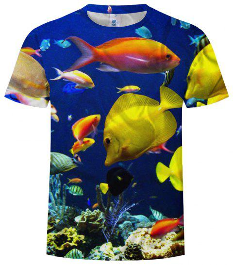 Men's Large Size Short Sleeve Fashion Print Deep Sea Fish Pattern - multicolor 6XL