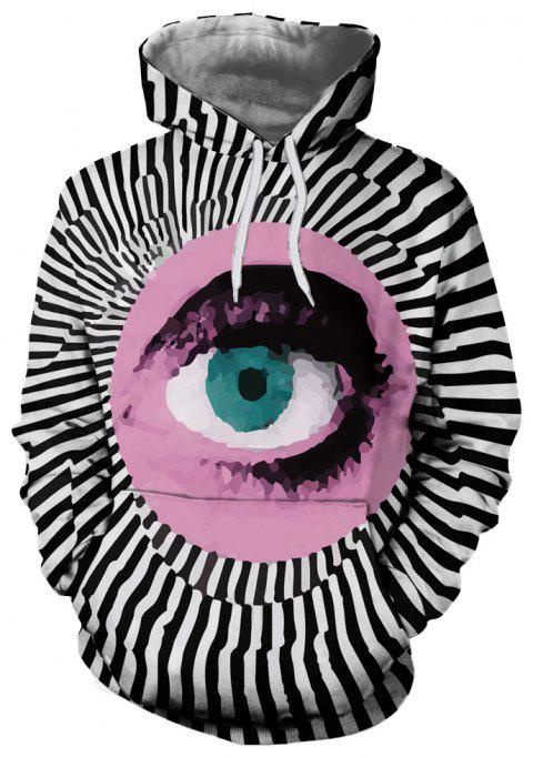 Fashion Men's Hooded Sweater 3D Printing Eye Pattern - multicolor 2XL