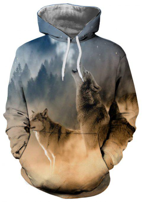 Fashion Wolf Head 3D Print Long Sleeve Hoodie - multicolor L