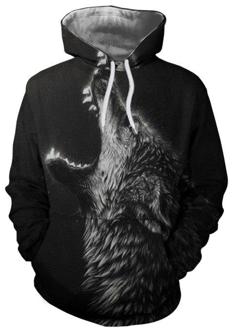 Fashion 3D Printed Wolf Head Long Sleeve Hooded Sweater - NATURAL BLACK 2XL