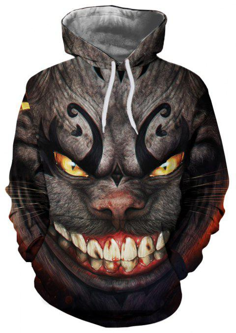 Fashion Beast 3D Digital Print Long Sleeve Sweatshirt - multicolor M