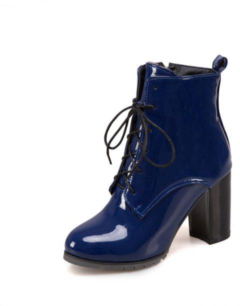 Short Boots with Thick High Heel Round Head and Non-Slip Sole - BLUE EU 36