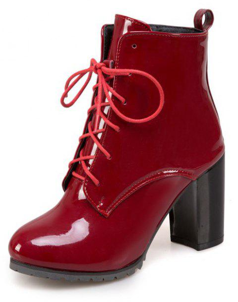 Short Boots with Thick High Heel Round Head and Non-Slip Sole - RED WINE EU 37