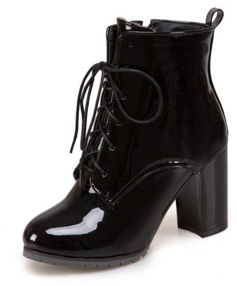 Short Boots with Thick High Heel Round Head and Non-Slip Sole - BLACK EU 38