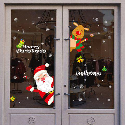 AMJ131 Christmas Cartoons PVC Window Wall Sticker - multicolor