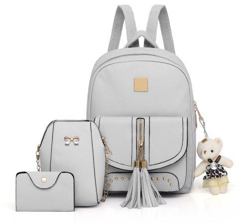 d683705f2554 Women Backpacks Female School Bags For Teenage Girls Black PU Leather Women  - GRAY