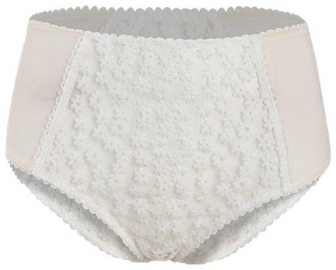 HODOYO Sweet and Girl Embroidery Perspective High Waist Briefs White - MILK WHITE XL
