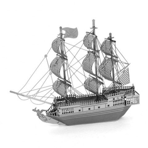 Black Pearl Corsair 3D Metal High-quality DIY Laser Cut Puzzles Jigsaw Model Toy - SILVER