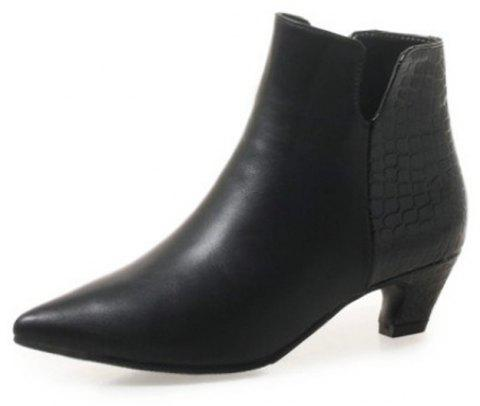 Sexy with The Tip in Rough with Short Boots - BLACK EU 36