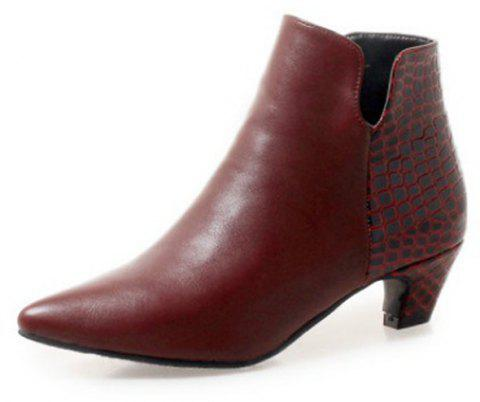 Sexy with The Tip in Rough with Short Boots - RED WINE EU 38