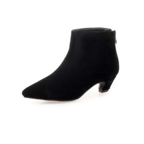 ce71281530f 2019 Pointed Head with Medium Heel Comfortable Short Boots In BLACK ...