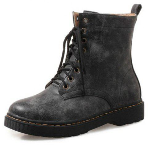 Round Head Rough and Low Heeled Laced Student Short Boots - BLACK EU 36