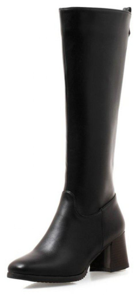 Round Head with Medium and Simple High Boots - BLACK EU 37