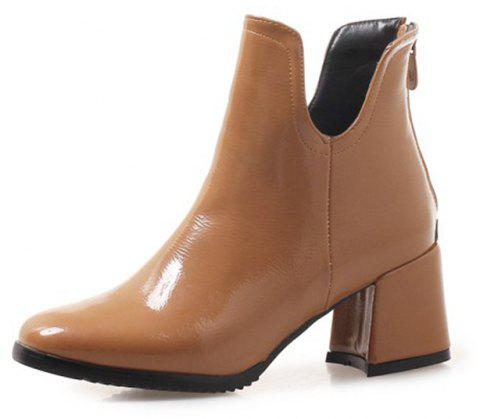 Square Head Medium Heeled and Sexy Lacquer Short Boots - YELLOW EU 34