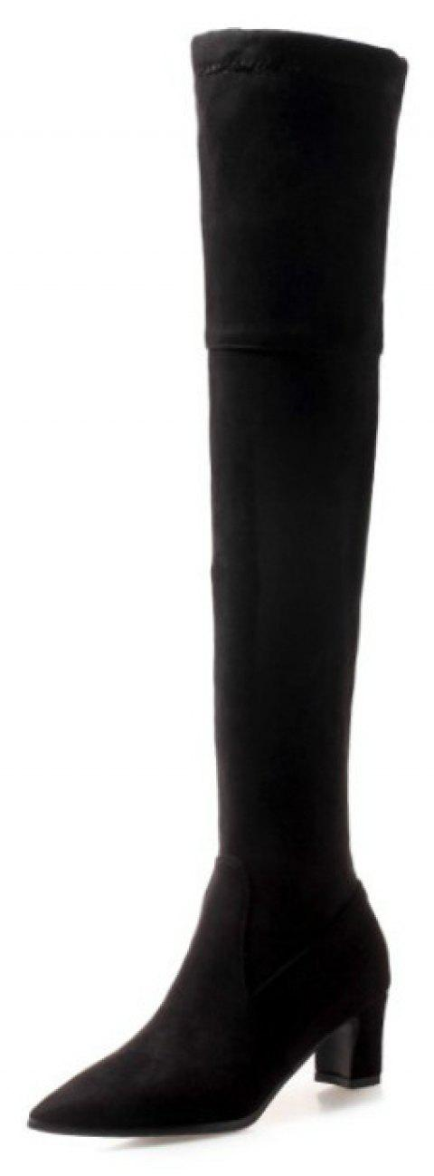 Pointed Head with Medium and Simple Knee Boots - BLACK EU 37