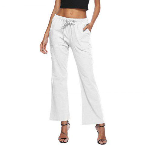 Casual Solid Color Drawstring Loose Pocket Bell-Bottoms - NATURAL WHITE S