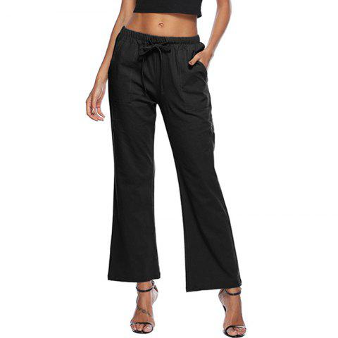 Casual Solid Color Drawstring Loose Pocket Bell-Bottoms - NATURAL BLACK 5XL
