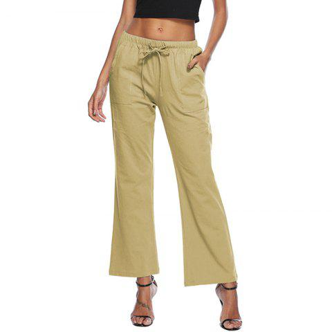 Casual Solid Color Drawstring Loose Pocket Bell-Bottoms - COOKIE BROWN M