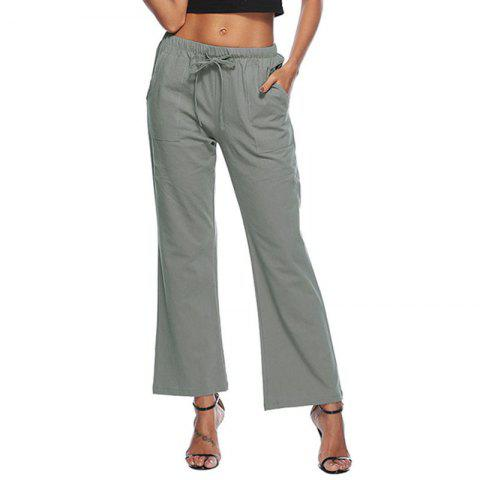 Casual Solid Color Drawstring Loose Pocket Bell-Bottoms - BATTLESHIP GRAY 2XL