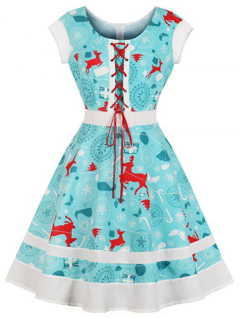 Round Collar Draw String Lace,Up Christmas Dress