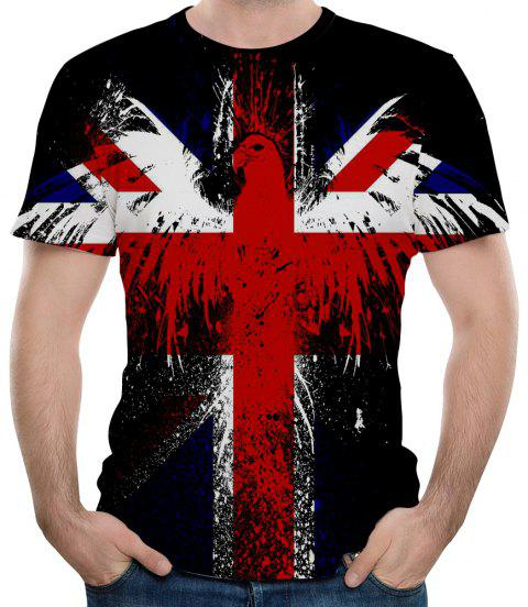 3D Winter Fashion Flag Print Mens Short Sleeve T-shirt - multicolor A 2XL
