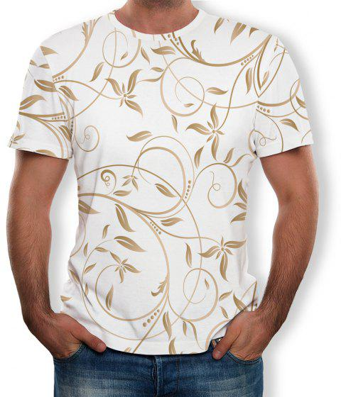3D Summer Fashion Floral Mens Print Short Sleeve T-shirt - multicolor F 3XL
