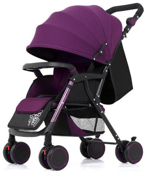 Super Portable Folding Four Wheeled Hand Push Can Sit Baby Cart Ultimate - PURPLE