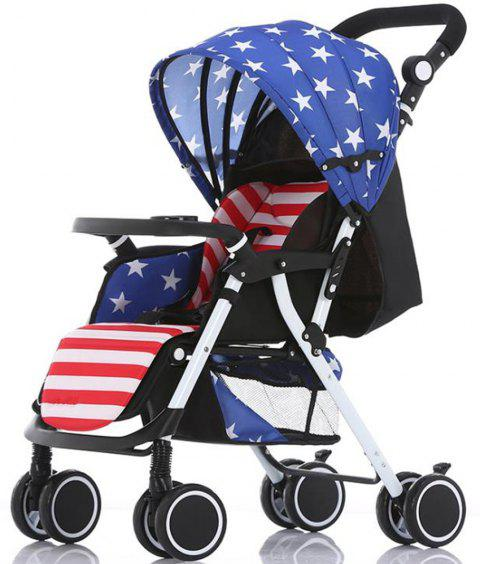 Super Portable Folding Four Wheeled Hand Push Can Sit Baby Cart Ultimate - BLUE