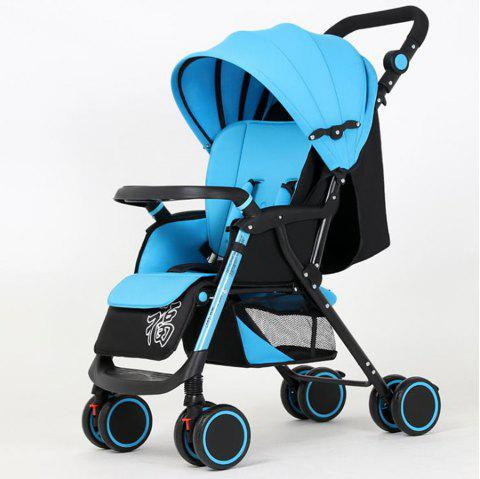 Super Portable Folding Four Wheeled Hand Push Can Sit Baby Cart Ultimate - SKY BLUE