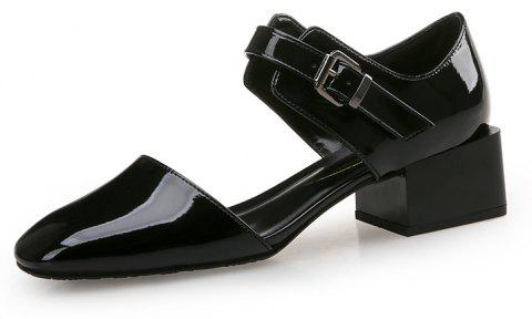 Square Head Buckle with Thick and Shallow Work Shoes - BLACK EU 38