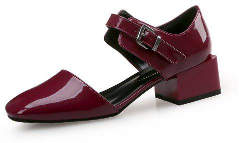 Square Head Buckle with Thick and Shallow Work Shoes - RED WINE EU 35