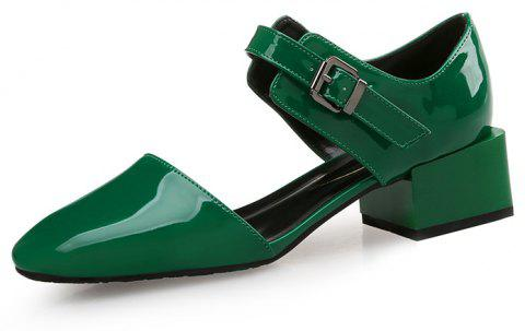 Square Head Buckle with Thick and Shallow Work Shoes - DEEP GREEN EU 39