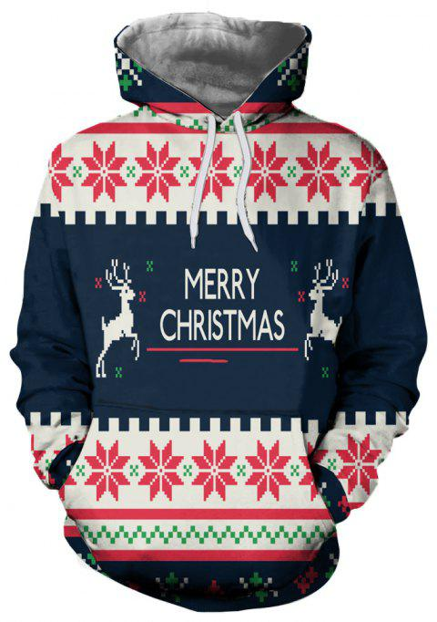 Fashion Trend Men's 3D Printed Christmas Pattern Hooded Sweater - multicolor C L