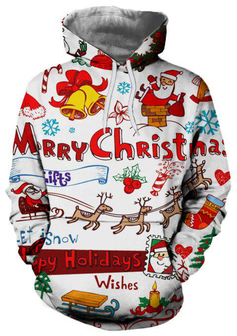 Fashion Trend Men's 3D Printed Christmas Pattern Hooded Sweater - multicolor A S