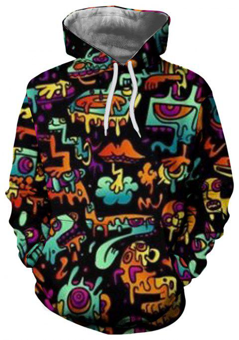 Trendy Men's 3D Printed Casual Hooded Sweater - multicolor S